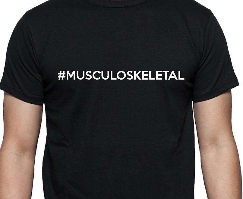 #Musculoskeletal Hashag Musculoskeletal Black Hand Printed T shirt