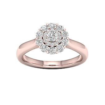 DE COUER 3/4Ct TDW Diamond 14k Rose Gold Double Halo Engagement Ring (I-J, I2)