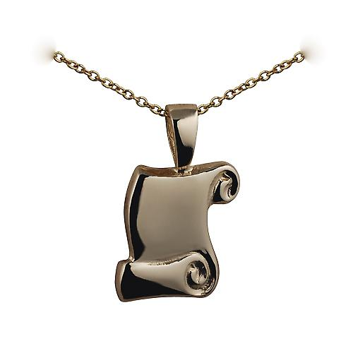 9ct Gold 16x12mm Graduation Scroll Pendant with a cable Chain 16 inches Only Suitable for Children