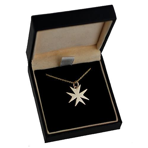 9ct Gold 18x17mm plain Maltese Cross with a cable Chain 16 inches Only Suitable for Children