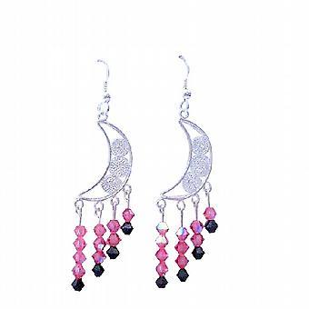 Swarovski Crystal Rose AB Drop Sterling Silver Bridal Earrings Jewelry