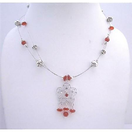 Handmade Red Bali Silver Beaded Wire Necklace Double Stranded Necklace