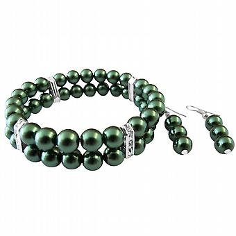 Green Pearls Jewelry Set Bracelet & Earrings Simulated Pearl Double Stranded Stretchable w/ Silver Rondells