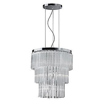 Idealne Lux - elegancka chromowana i szkła dwunastu światła wisiorek IDL026695