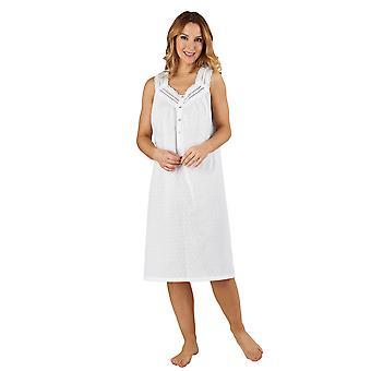 Slenderella ND3231 Women's Cotton Woven White Night Gown Loungewear Nightdress