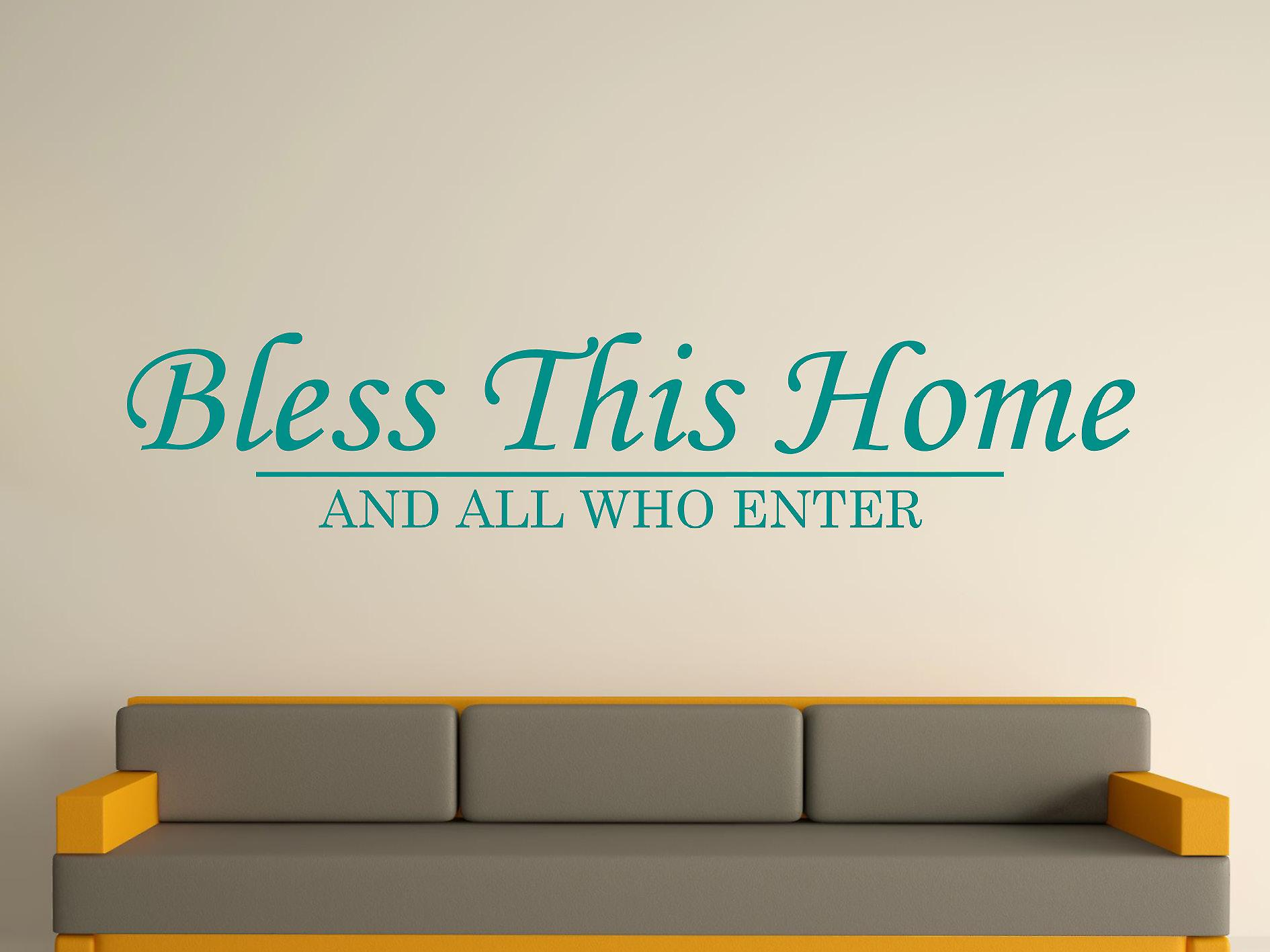 Bless This Home Wall Art Sticker - Aqua Green