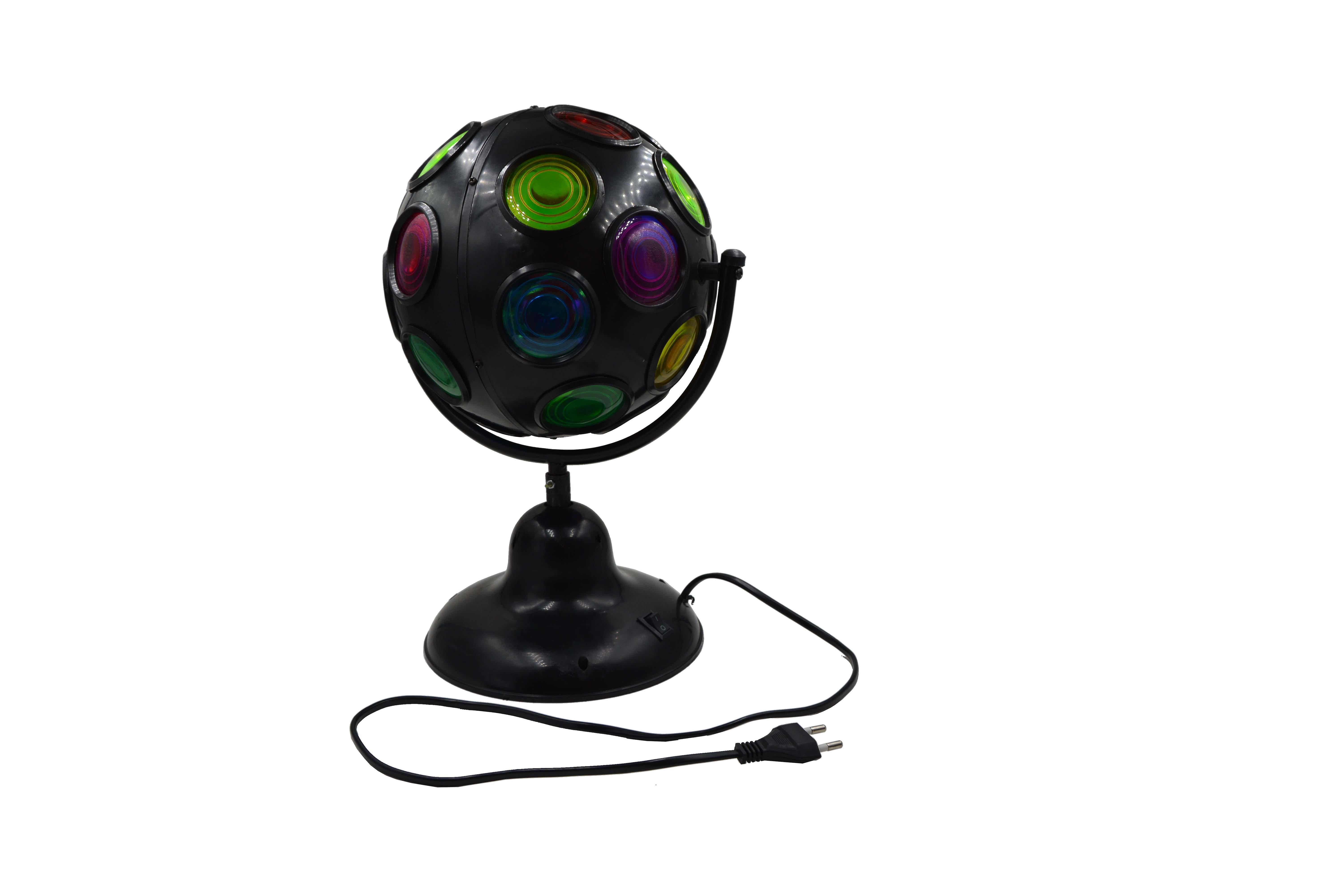 Party 6 Inch Spinning Rotating Multi-Coloured LED Disco Ball Black Kids Light Lamp