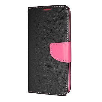 Huawei P30 Pro Wallet Pouch Fancy Case + Wrist Strap Black-Pink
