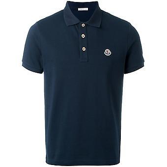 Moncler Blue Cotton Polo Shirt