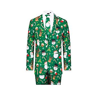 d/Spoke Mens Green Santa and Friends 2 Piece Christmas Suit