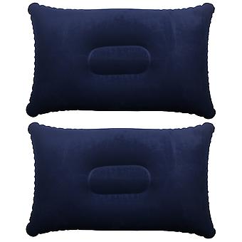 TRIXES 2 x Blue Inflatable Pillow Camping Travel Soft Blow-Up