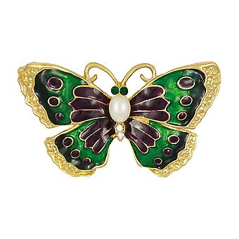 Eternal Collection Belle Purple/Green/Blue Enamel And Faux Pearl Gold Tone Butterfly Brooch