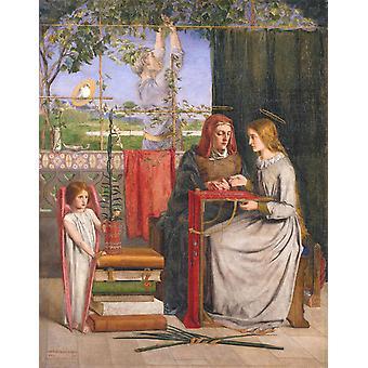 Freundin der Jungfrau Maria, Dante Gabriel Rossetti, 50x40cm