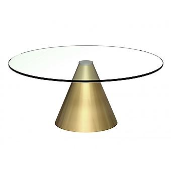 Gillmore Space Large Round Clear Glass Coffee Table With Conical Brass Base