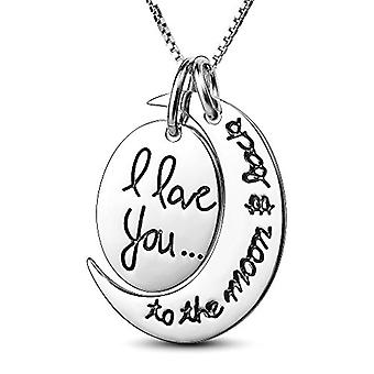 18K White-Gold Plated I Love You to the Moon & Back Necklace