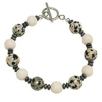Eternal Collection Dalmatian Jasper Beaded Bracelet