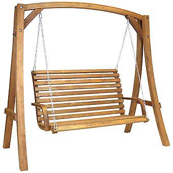 2-3 Seater Larch Wood Wooden Garden Outdoor Swing Seat Bench Hammock 1.9M
