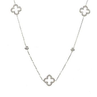 Latelita 925 Sterling Silver Long Open alhambra Clover Necklace CZ 90cm Sparkly