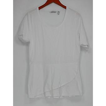 Isaac Mizrahi en direct! Femmes-apos;s Top Elbow Sleeve Peplum Flounce Blanc A303962