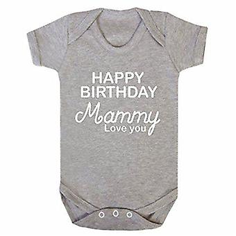 Reality glitchhappy birthday mammy grey short sleeve babygrow