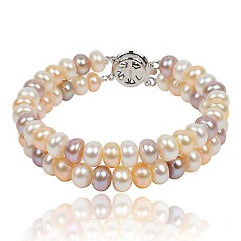 Dual Layer Multicolor 7-8mm Freshwater Cultured Pearl Bracelet, 20cm