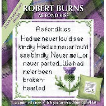Textile Heritage Counted Cross Stitch Rabbie Burns Ae Fond Kiss Card Kit