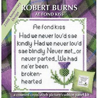 Textiel erfgoed geteld Cross Stitch Rabbie Burns AE Fond Kiss kaart kit