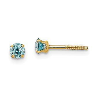 14k Yellow Gold Polished Screw back Post Earrings 3mm Blue Zircon for boys or girls Earrings - Measures 4x4mm