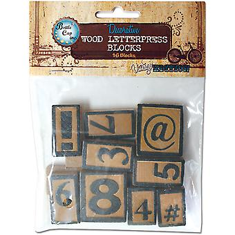 Vintage Collection Letter Press Set 16 Piece Numbers Symbols Npress16