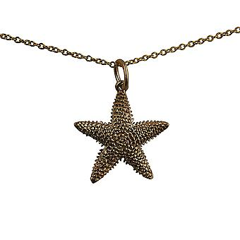 9ct Gold 19x19mm Star Fish Pendant with a cable Chain 16 inches Only Suitable for Children