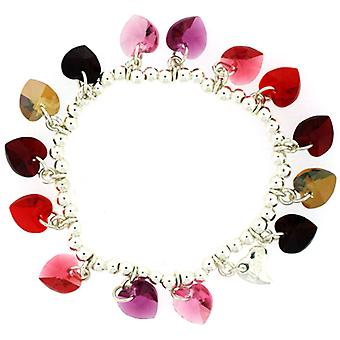 Kleshna Swarovski Crystal Candy Hearts Charm Bracelet in Siam Reds