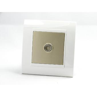 I LumoS AS Luxury White Plastic Arc Single TV Socket
