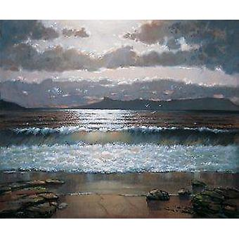 Ed Hunter print - Evening Light Over Eigg