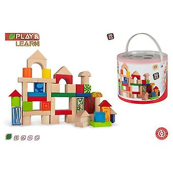 Colorbaby 50 Blocks Cube Wood (Toys , Preschool , Constructions)