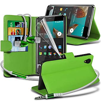 i-Tronixs OnePlus 3 Case PU Leather Wallet Flip Cover + Earphones -Green