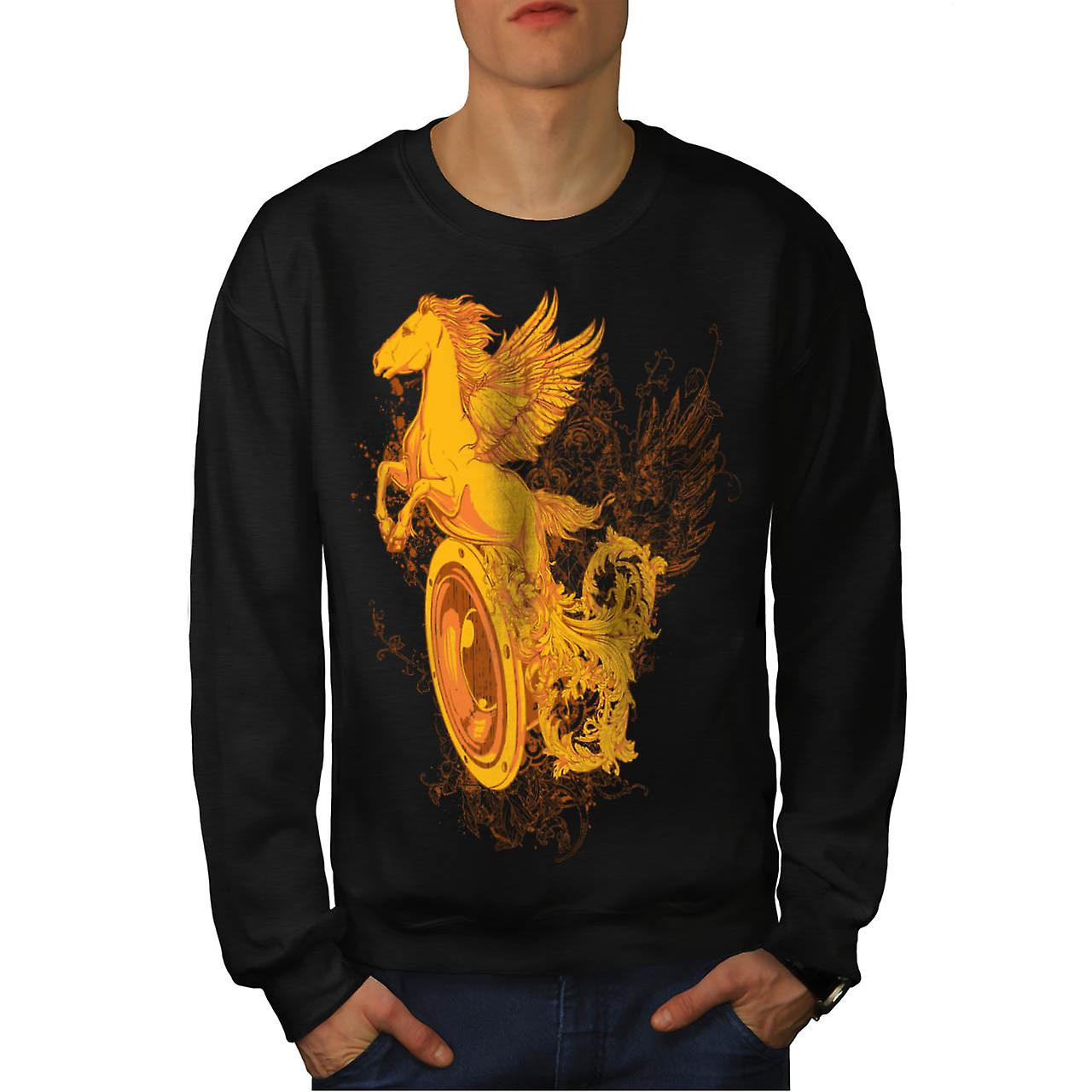 Pegasus Freedom Music Mythical Men Black Sweatshirt | Wellcoda