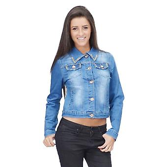 Blue faded stud denim jacket