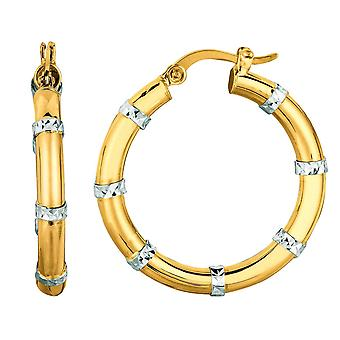 14k Yellow White Gold Shiny Sparkle-Cut Fashion Sparkle Round Hoop Earrings With Hinged Clasp