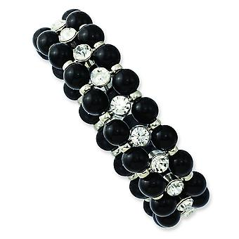 Silver-tone Black Beads and Clear Glass Stones Stretch Bracelet