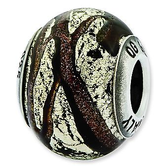 Sterling Silver Reflections Italian Brown and Silver Colored Glass Bead Charm