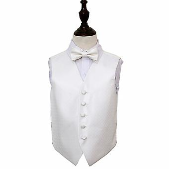 Boy's Ivory Greek Key Patterned Wedding Waistcoat & Bow Tie Set