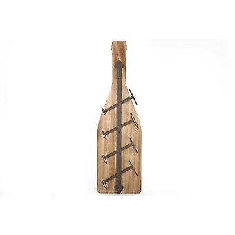 11x85x25CM WOODEN IRON BOTTLE STYLE 4 BOTTLE WINERACK