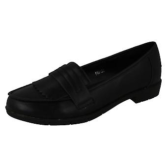 Ladies Spot On Smart Fringed Loafers F80121