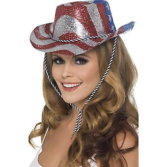 Cowboy hat glitter USA America party hat of Stars Stripes Hat