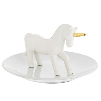 Sass & Belle Golden Unicorn White Jewellery Dish
