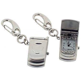 Gift Time Products Mobile Phone Clock Key Ring - Silver