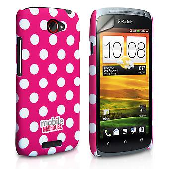 Yousave Accessories HTC One S Polka Dot Hard Case - Hot Pink