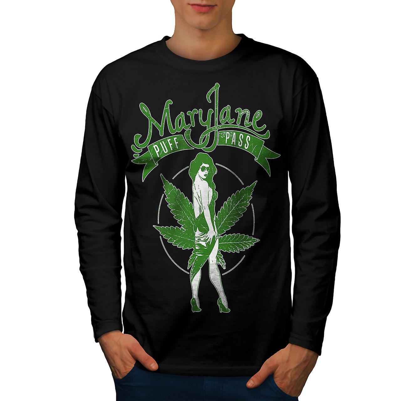 Weed Puff Pass Mary Men BlackLong Sleeve T-shirt | Wellcoda