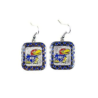 Kansas Jayhawks NCAA Polka Dot Style Dangle Earrings