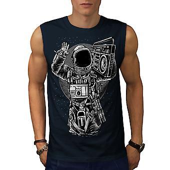 Plass musikk kule mote menn NavySleeveless t-skjorte   Wellcoda